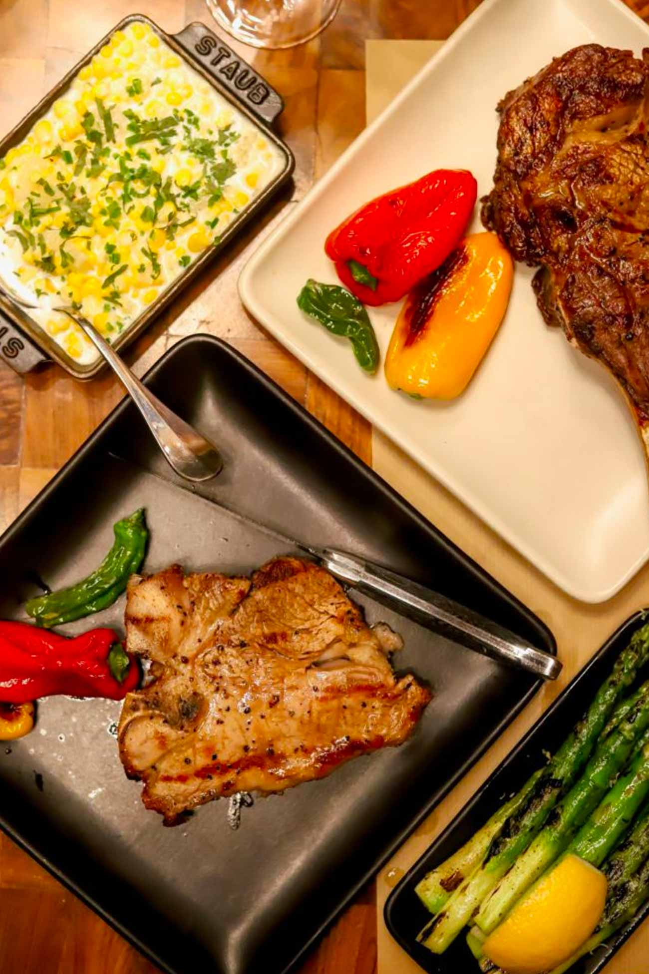 Veal Porterhouse, Bone-In Ribeye , Creamy Corn and Lime & Asparagus