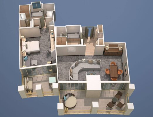 floor plans for a one bedroom first floor casita at The Phoenician
