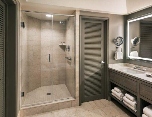 guest bathroom glass shower