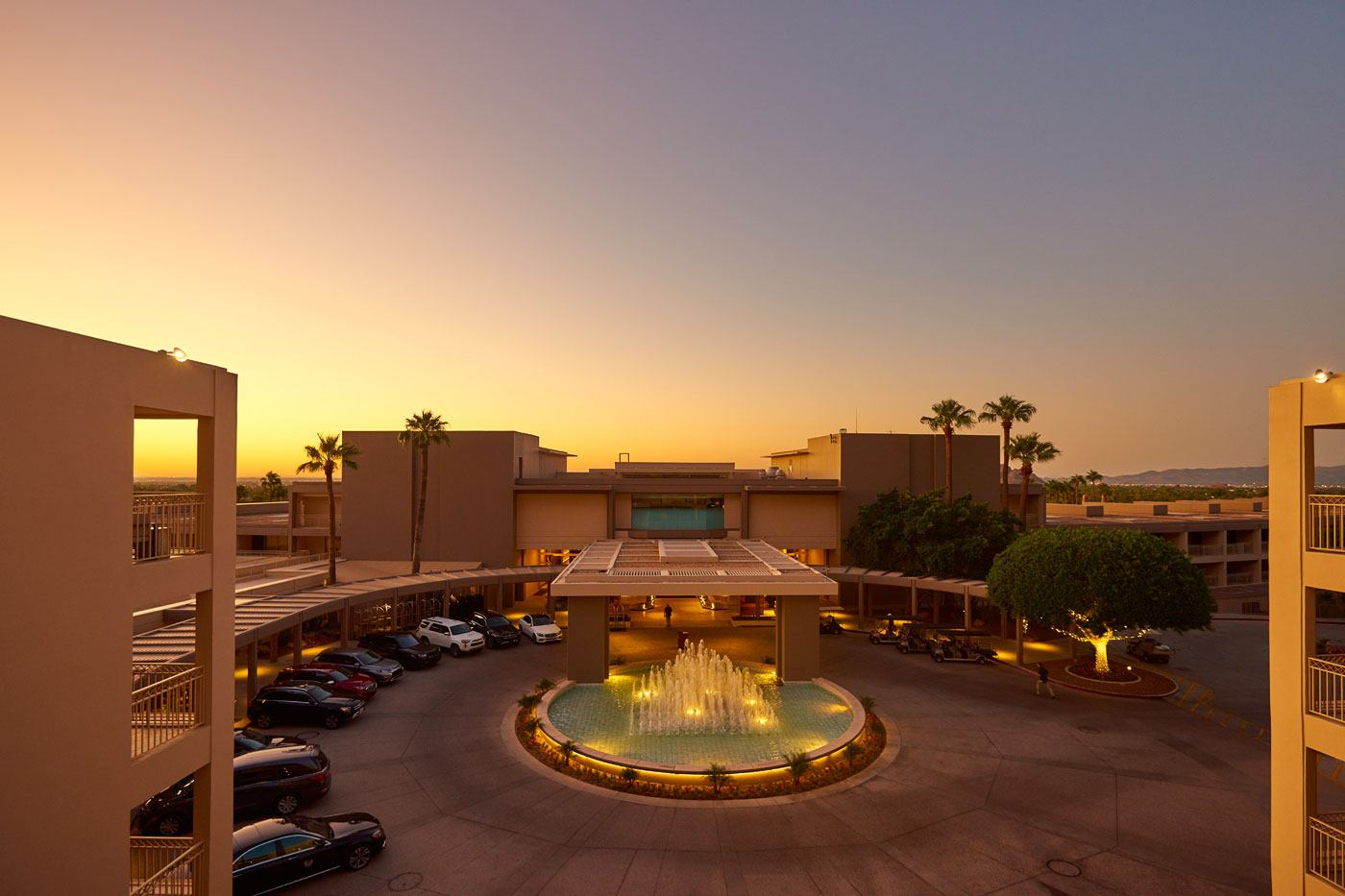 The Phoenician driveway lit from the sunrise