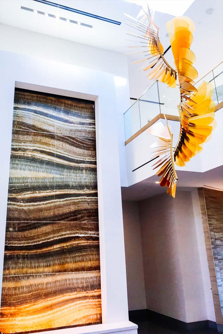 ceiling sculpture hanging down in resort spa