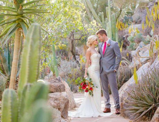 Bride and groom in Cactus Garden