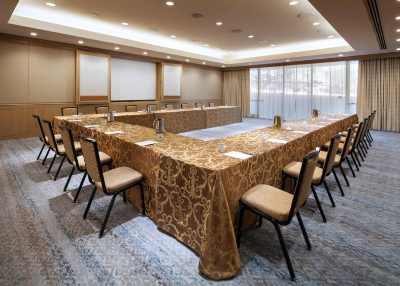 cactus painted desert room set for u-shaped business meeting venue