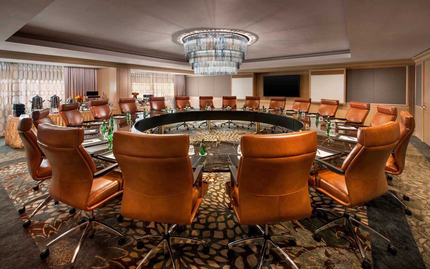 cactus wren meeting room set for circle meeting with leather armchairs