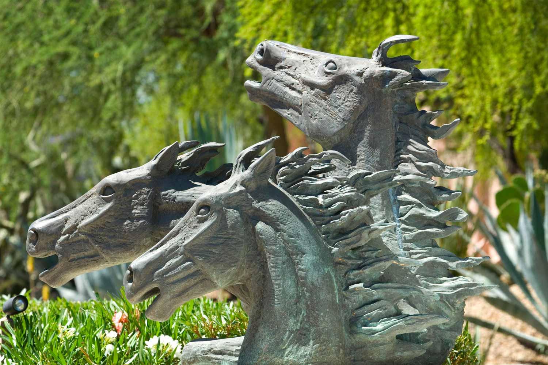 Three mustang sculpture