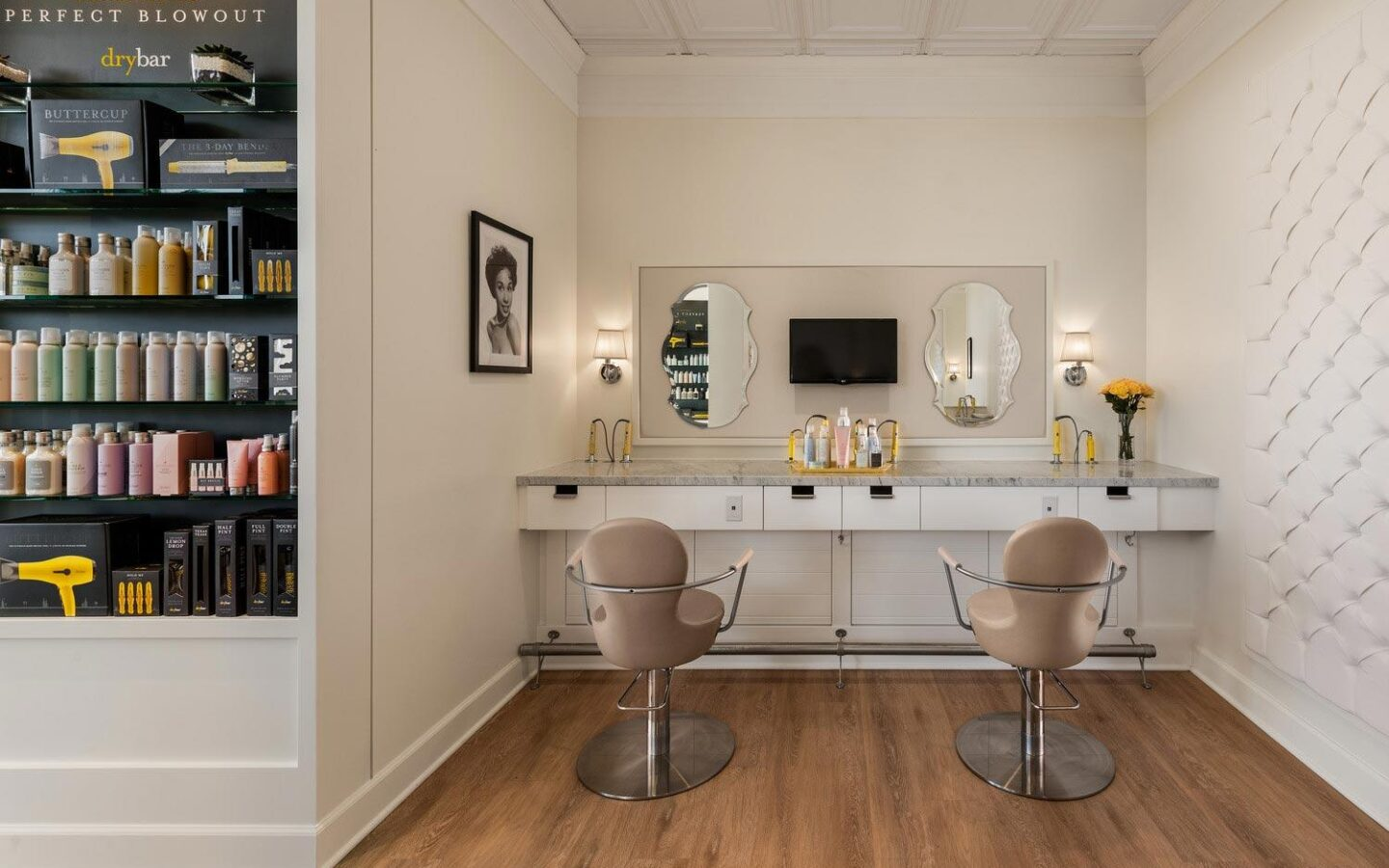 two hairdresser's chairs in Drybar at The Phoenician
