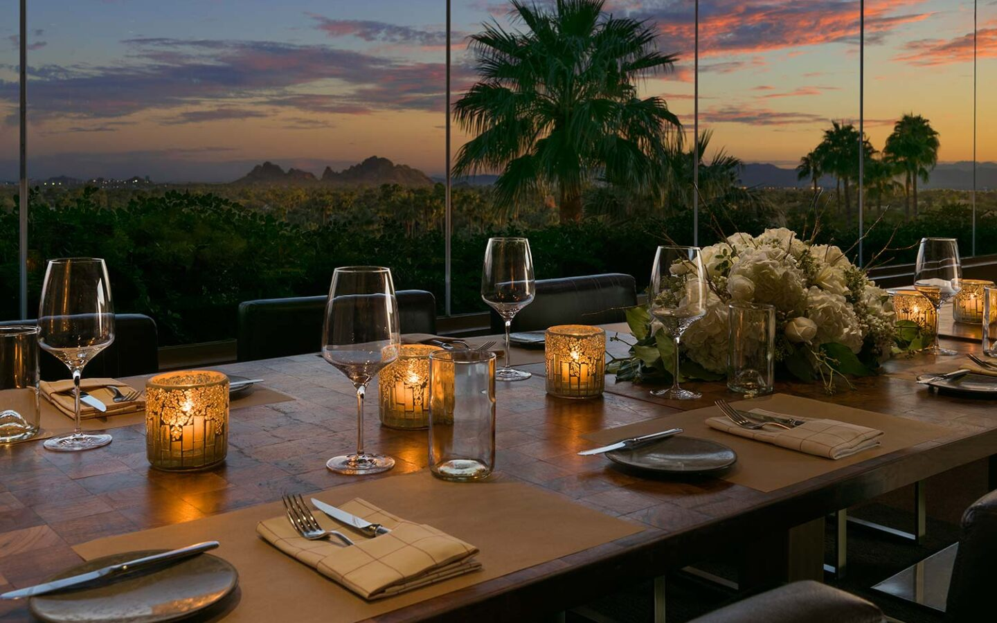 private dining table at J&G Steakhouse at dusk