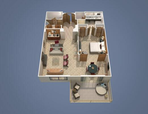 3d floor plan rendering of one bed room suite