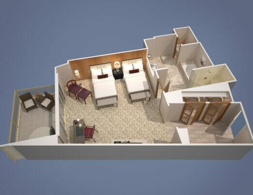 3d floor plan rendering of suite with two double beds
