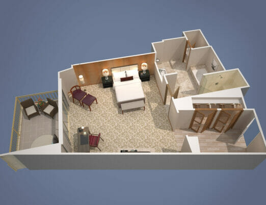 3d floor plan rendering Canyon Guest Room with King