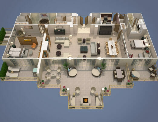 3d rendering of presidential suite floor plan with connected extra room