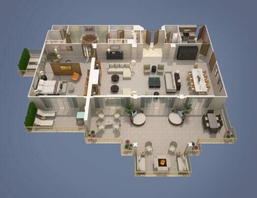 3d rendering of presidential suite floor plan