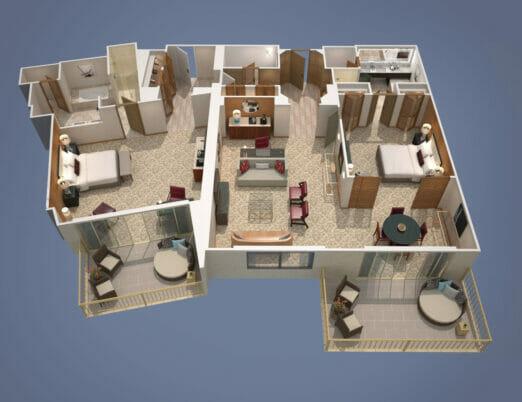 3d floor plan rendering of two bedroom hotel suite