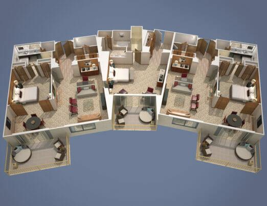 3d floor plan rendering of three bedroom hotel suite