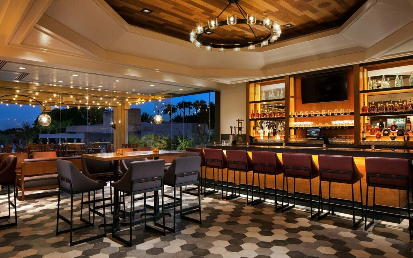 Mowry and Cotton bar area with high chairs lining the bar