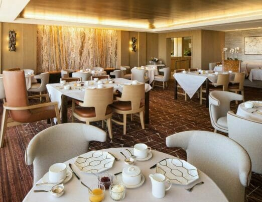 afternoon tea dining area with tables set for service