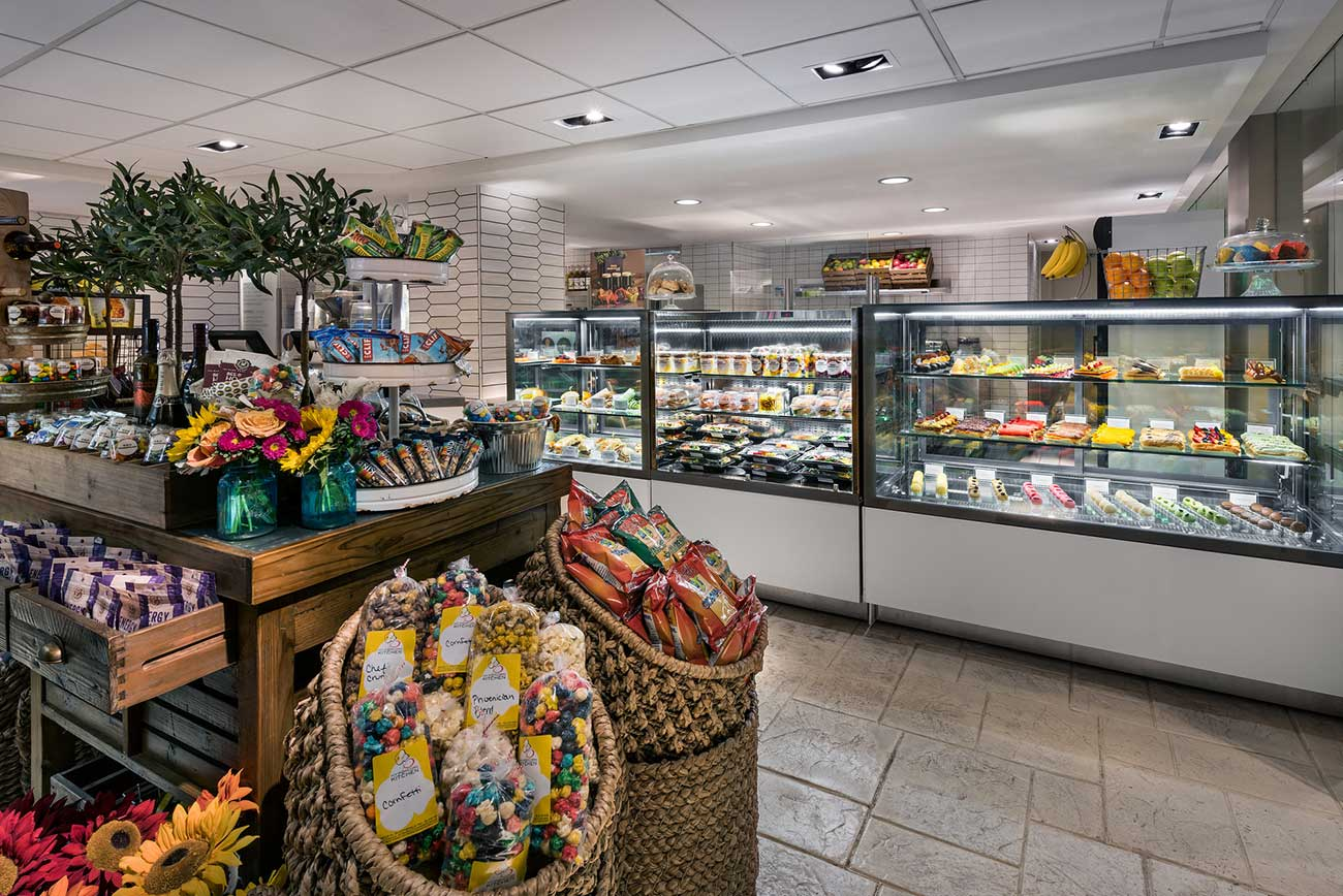 The Marketplace counter with pre-made food and snacks