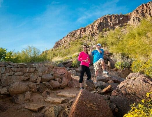 two hikers on the Camelback Hiking path