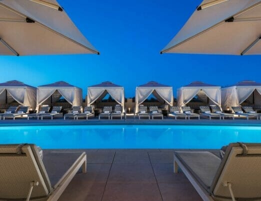 Rooftop Pool surrounded by cabanas at The Phoenician Spa