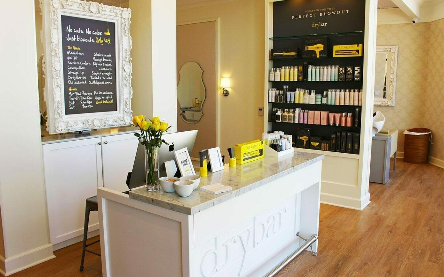the front desk of Drybar at The Phoenician spa