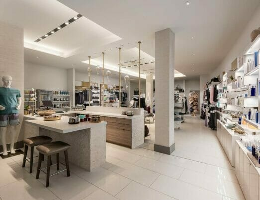 a bright spa store with shelves of beauty products