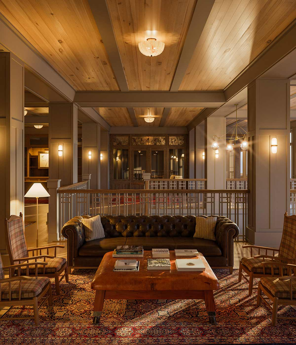The Grand Adirondack Hotel lobby seating area under dim lighting