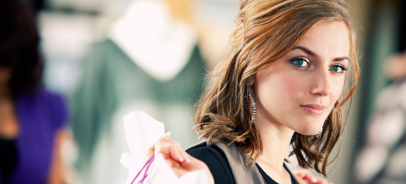 Boutique: Customer Leaving Store with Purchases