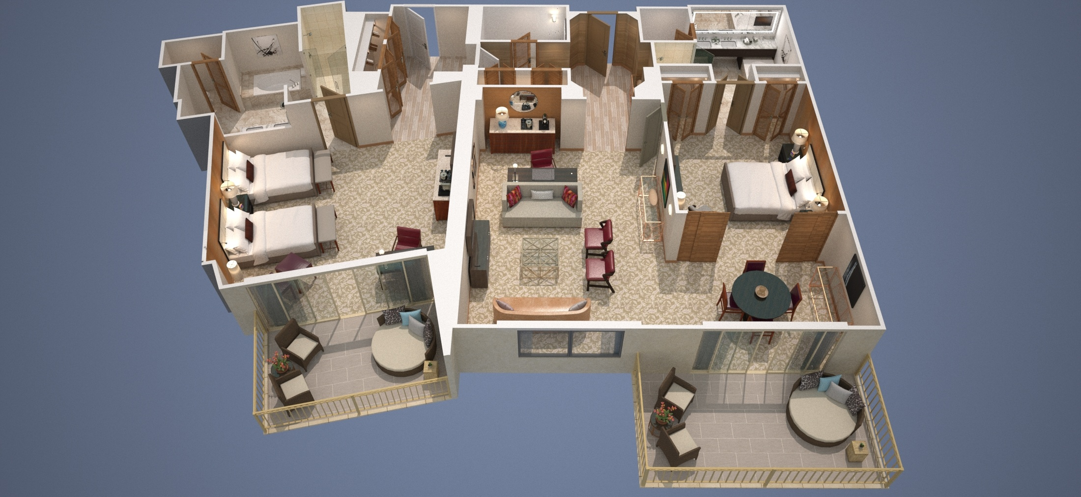 two bedroom suites. Two Bedroom Diagram with Doubles or Three Canyon Suite  The Suites at